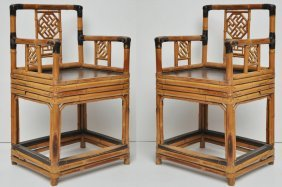 Pair Of Antique Bamboo Chairs In Ming Dynasty Style