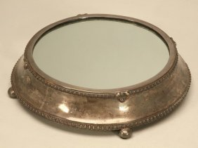 Antique English Silver Plated Mirror Plateau