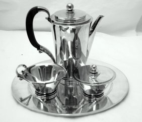 Georg Jensen Sterling Silver Pyramid Coffee Set #600a