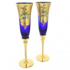 Set Of Two Murano Glass Champagne Flutes 24k Gold Leaf