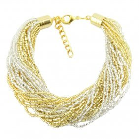 Gloriosa 24 Strand Seed Bead Murano Bracelet - Gold And