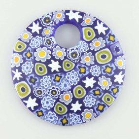 Murano Millefiori Blue And Yellow Pendant- Large Round