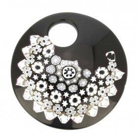 Black And White Millefiori Murano Glass Pendant - Round