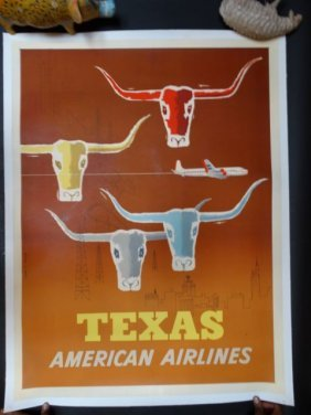 Texas Longhorn American Airlines Poster 1950s By Joseph