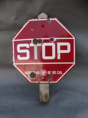 Automobile Club Of Southern California Stop Sign Rare