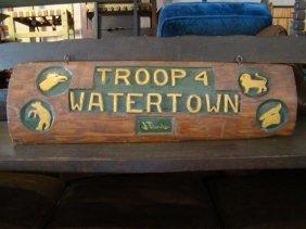 """Vintage Cub Scout """"troop 4"""" Sign"""