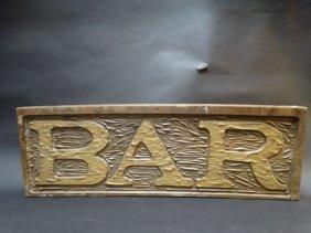 Carved Wooden Bar Sign