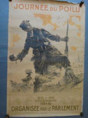 """French Wwi Patriotic Poster """"le Jour Du Poilu"""
