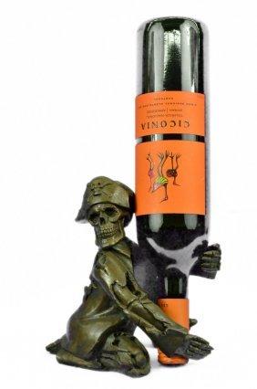 Hot Cast Pirate Skeleton Wine Holder Bronze Sculpture