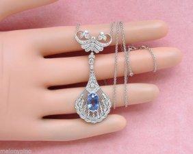 Edwardian Style 1.60ctw Diamond 2.4ct Ceylon Sapphire
