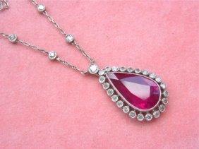 Edwardian 9ct Ruby Pear Drop 1.40ctw Diamond Platinum