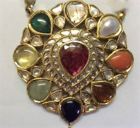 Antique Mughal Style High Carat 22k Precious Stone