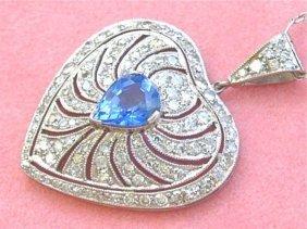 Estate 1.4ctw Diamond 1.3ctw Ceylon Sapphire Platinum