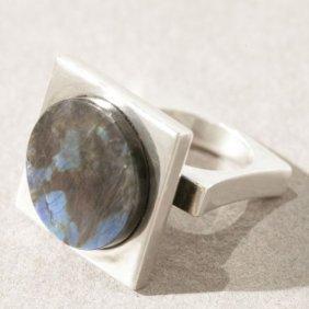 Georg Jensen Sterling Silver Ring With Labradorite No.