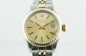 Ladies Rolex Date 18k Gold & Steel