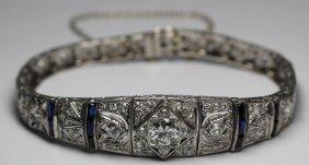 9.50cts Edwardian Diamond Bracelet Platinum W/