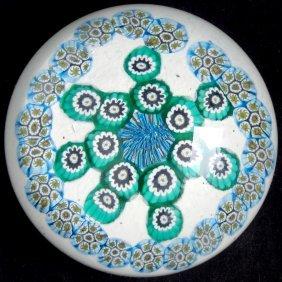 Murano White Millefiori Flower Snowflake Paperweight