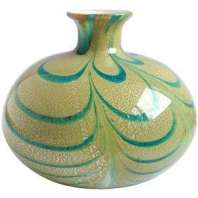 Moretti Murano Silver Flecks Blue Swirl Flower Vase