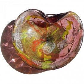 Murano Purple Gold Flecks Color Ribbons Art Glass Bowl