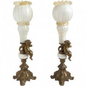 Murano White, Gold, Brass Cherub Table Lamps