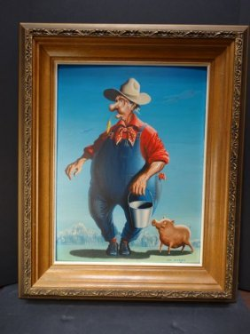 Irv Wyner The Farmer And His Pig Buddy
