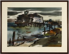 """Maurice George Logan 1886 – 1977 Watercolor """"ferry At"""