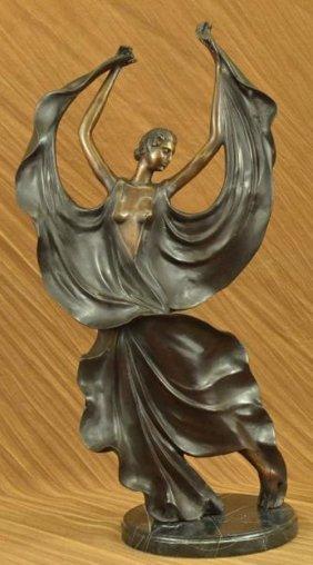 Flamenco Dancer Bronze Sculpture On Marble Base