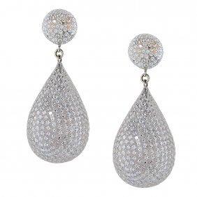 8.99 Carat Diamond Gold Dangle Earrings