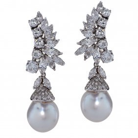 Dazzling 11.87 Carat Diamond And South Sea Pearl Drop