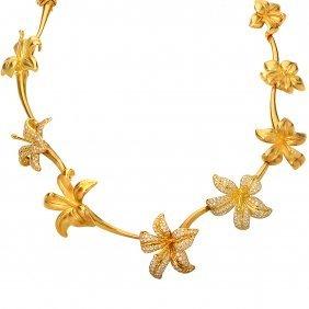 Angela Cummings Diamond Gold Blossom Necklace