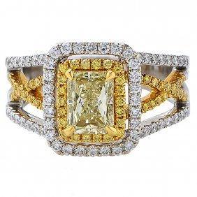 1.11 Carat Gia Cert Fancy Color Diamond Gold Ring