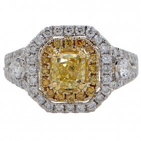 Vivid 1.02 Carat Gia Cert Yellow Cushion Cut Diamond