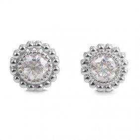 14k White Gold Diamond Stud Earrings Er4-14714w