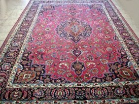9x12 Persian Mashad Rug Hand Knotted Delightful