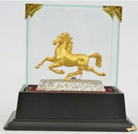 24k Gold Plated Stallion Arabian Horse Sculpture