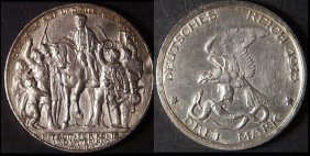 Vintage 1913 A Germany Prussia Commemorative 3 Mark