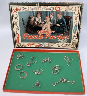 Vintage 1921 A.c. Gilbert Puzzle Parties Playset In