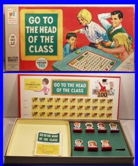 Vintage 1967 Go To The Head Of The Class Board Game By