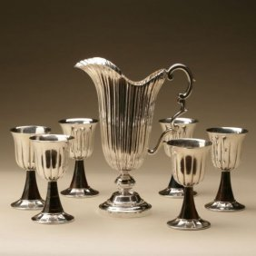 Buccellati Sterling Silver Wine Goblets And Pitcher Set