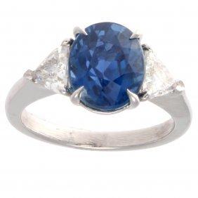 Natural 4.29 Carat Burma Sapphire Diamond Platinum Ring