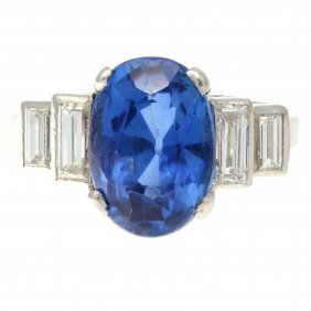 Natural 3.34 Burma Sapphire Platinum Ring
