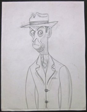 Ned Sparks C.1930's T. Hee Caricature Pencil Drawing -