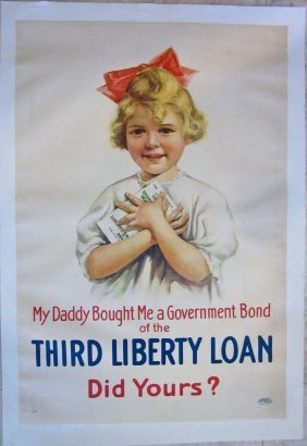 Wwi Third Liberty Loan Linen Backed Poster - Little
