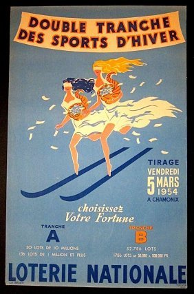 Loterie Nationale - Original 1954 French Lottery Poster