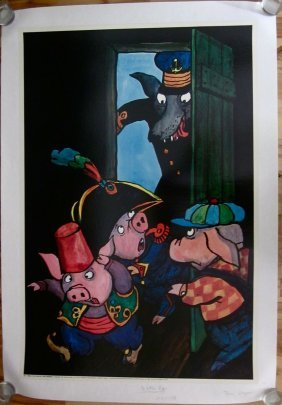 Vintage 1971 Three Little Pigs Lb Poster - Cute Cartoon