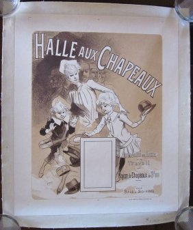 Vintage Circa 1888 French Hat Ad Linen Backed Poster -