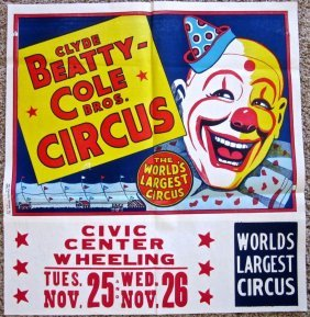 Clyde Beatty Circus Poster-big Clown Face! World's