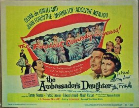 The Ambassador's Daughter '56 Title Card Myrna Loy