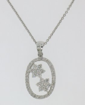 Charles Krypell 18k Solid White Gold .75 Ctw Oval