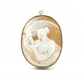 10k Hand Carved Shell Cameo Of Zeus And Hera